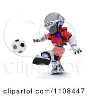 Clipart 3d Czech Robot Playing Soccer Royalty Free CGI Illustration