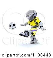 Clipart 3d Ukrainian Robot Playing Soccer Royalty Free CGI Illustration
