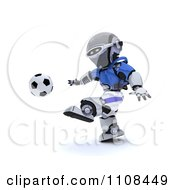 Clipart 3d Italian Robot Playing Soccer Royalty Free CGI Illustration