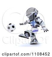 Clipart 3d Greek Robot Playing Soccer Royalty Free CGI Illustration