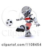 Clipart 3d Polish Robot Playing Soccer Royalty Free CGI Illustration