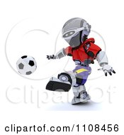 Clipart 3d Spanish Robot Playing Soccer Royalty Free CGI Illustration