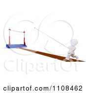 Poster, Art Print Of 3d White Character Pole Vault Track And Field Athlete 1