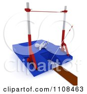 Poster, Art Print Of 3d White Character Pole Vault Track And Field Athlete 2