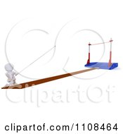 Poster, Art Print Of 3d White Character Pole Vault Track And Field Athlete 3
