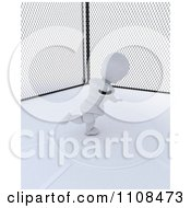 Clipart 3d White Character Discus Thrower In A Cage 1 Royalty Free CGI Illustration