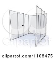 Clipart 3d White Character Discus Thrower In A Cage 4 Royalty Free CGI Illustration