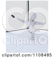 Clipart 3d White Character Discus Thrower In A Cage 2 Royalty Free CGI Illustration