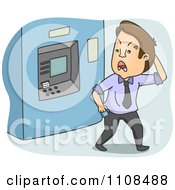 Clipart Angry Man Walking Away From An ATM Bank Machine Royalty Free Vector Illustration