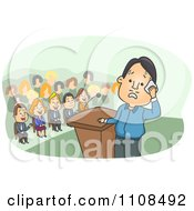 Clipart Nervous Man At A Podium Imagining People Laughing At Him Royalty Free Vector Illustration
