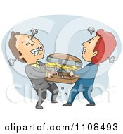 Two Men Fighting Over A Treasure Chest On Gray