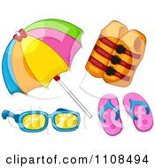 Clipart Summer Beach Umbrella Life Jacket Flip Flops And Sunglasses Royalty Free Vector Illustration