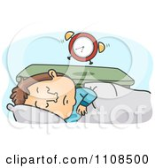Clipart Tired Man Sleeping In And Ignoring His Alarm Clock Royalty Free Vector Illustration by BNP Design Studio