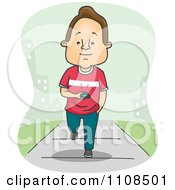 Clipart Man Walking Down A Sidewalk And Texting In A City Royalty Free Vector Illustration