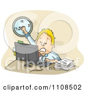 Clipart Stressed Businessman Turning The Clock Back While Racing Against Time At The Office Royalty Free Vector Illustration