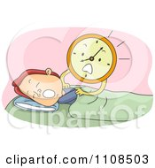 Clipart Stressed Alarm Clock Shaking A Sleeping Man Royalty Free Vector Illustration