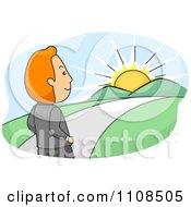 Clipart Businessman Walking Towards A Sunrise And Bright Future Royalty Free Vector Illustration
