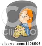 Clipart Depressed Girl Hugging Her Knees And Crying Over Gray Royalty Free Vector Illustration