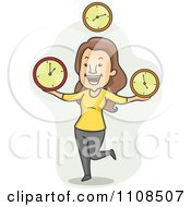 Clipart Happy Woman Juggling Time Clocks Over Gray Royalty Free Vector Illustration