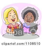 Clipart Two Women Laughing And Using Tablet Computers Over Purple Royalty Free Vector Illustration