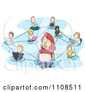 Clipart Network Of Socializing People And Laptops Over Blue Royalty Free Vector Illustration
