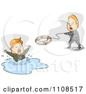 Clipart Man Tossing A Live Saver Buoy Out To A Man In Water Royalty Free Vector Illustration