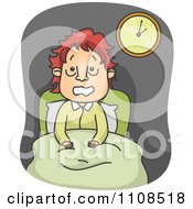 Clipart Stressed Man Sitting Up In Bed And Suffing From A Sleepless Night Of Insomnia Royalty Free Vector Illustration by BNP Design Studio