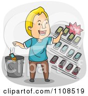 Clipart Happy Man Selecting A New Cell Phone Royalty Free Vector Illustration