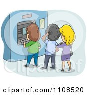Clipart Line Of People At A Bank ATM Machine Over Blue Royalty Free Vector Illustration