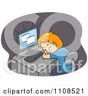 Clipart Tired Man Sleeping At His Computer Desk Over Gray Royalty Free Vector Illustration