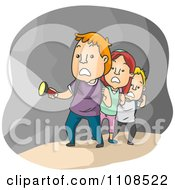 Clipart Group Of People Testing Their Courage In A Dark Cave Royalty Free Vector Illustration