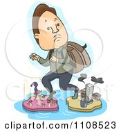 Clipart Man Escaping Reality And Stepping On Mushroom And City Islands Royalty Free Vector Illustration