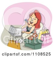 Clipart Happy Woman Shopping On Her Laptop Computer Over Pink Royalty Free Vector Illustration by BNP Design Studio