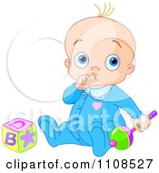 Clipart Baby Boy Sucking His Thumb And Playing With A Rattle And Toy Block Royalty Free Vector Illustration