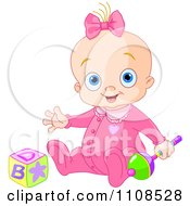Clipart Happy Baby Girl In A Pink Sleeper With A Rattle And Toy Block Royalty Free Vector Illustration