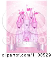 Clipart Pink Fairy Tale Castle With Turrets And A Banner Over Sparkling Rays Royalty Free Vector Illustration