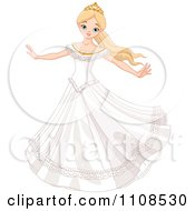Clipart Fairy Tale Princess Bride Twirling In Her Dress Royalty Free Vector Illustration by Pushkin