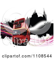 Clipart London Double Decker Bus And Palace Of Westminster With Grunge And Waves Royalty Free Vector Illustration
