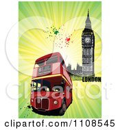 Clipart London Double Decker Bus And Big Ben With Grunge Text And Rays Royalty Free Vector Illustration by leonid