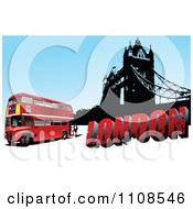 Clipart London Double Decker Bus With Grungy Text And Tower Bridge Over Blue Royalty Free Vector Illustration by leonid
