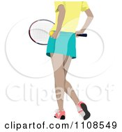 Clipart Female Tennis Athlete Shown From Behind With Lean Legs Royalty Free Vector Illustration