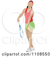 Clipart Female Tennis Athlete Serving Royalty Free Vector Illustration