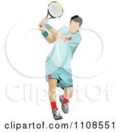 Clipart Male Tennis Athlete Swinging Royalty Free Vector Illustration
