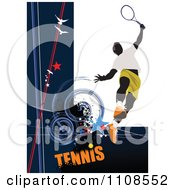 Clipart Male Tennis Athlete With Text And Grunge Royalty Free Vector Illustration