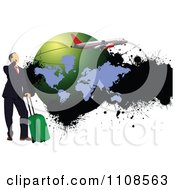 Clipart Traveling Businessman With Luggage A Cell Phone Grungy Globe And Plane Royalty Free Vector Illustration