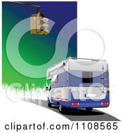 Clipart Camper Rv With A Street Light And Gradient Royalty Free Vector Illustration