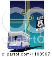 Clipart Camper Rv With A A Route 66 Sign Gps Lines And Gradient Royalty Free Vector Illustration by leonid