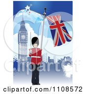 Clipart London Guard With Union Jack Flag And Big Ben Royalty Free Vector Illustration by leonid