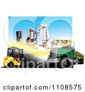 Clipart Big Rig Forklift And Construction Site Royalty Free Vector Illustration