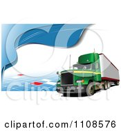 Clipart Green Big Rig Truck Over Tiles Royalty Free Vector Illustration
